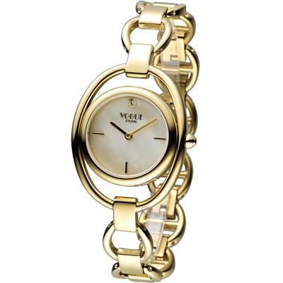 VOGUE 簡約出眾時尚腕錶-珠貝x金/30mm