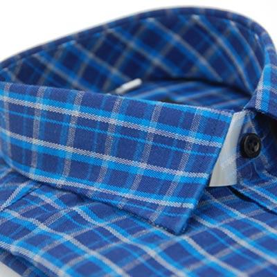 金‧安德森 深淺藍白格紋保暖窄版長袖襯衫fast