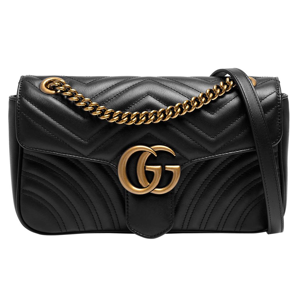 GUCCI GG Marmont絎縫紋牛皮金屬雙G LOGO暗壓釦手拿/斜背包(黑)