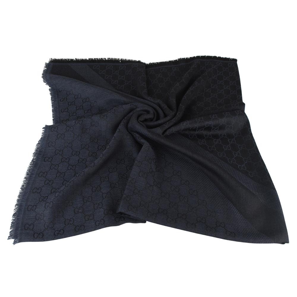 GUCCI 經典GG緹花 LOGO羊毛披巾(墨藍)