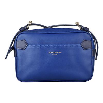 LONGCHAMP 2.0系列燙金LOGO雙色牛皮拉鍊斜背包(藍x深藍)