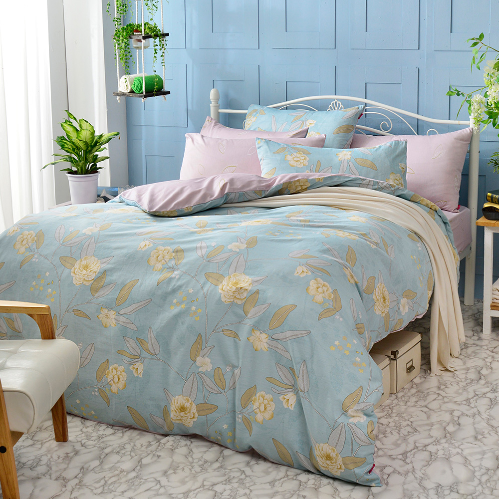 英國Abelia 湛藍微光 加大純棉四件式被套床包組