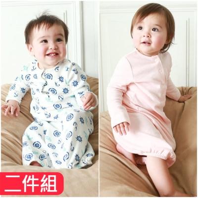 baby童衣 純棉男女寶寶睡袍印花素面 2件組 60315