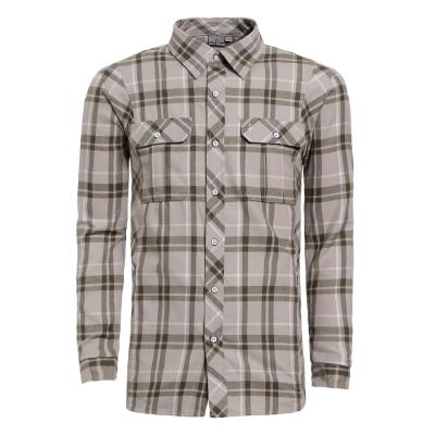 【hilltop山頂鳥】男款ThermoTech長袖襯衫C05M13-卡其/墨綠格