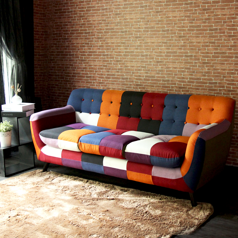 H&D東稻家居 Abel混色拼布設計款獨立筒三人沙發