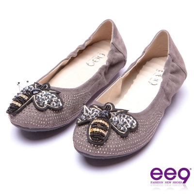 ee9 花漾年華靚亮鑲鑽飾扣柔軟舒適平底娃娃鞋 灰色
