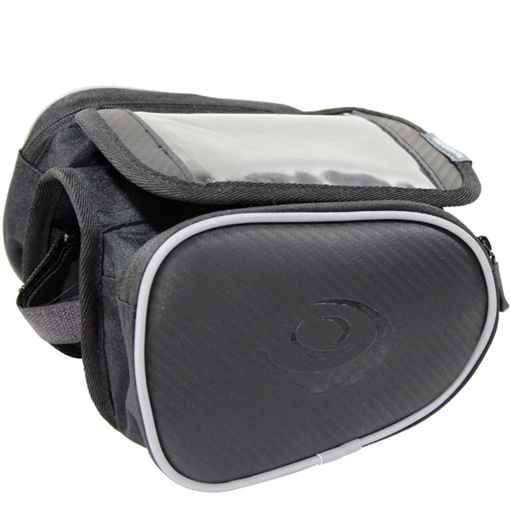 [快]omax碳纖紋手機上管馬鞍包5.5吋 雙眼矽膠多功能警示燈
