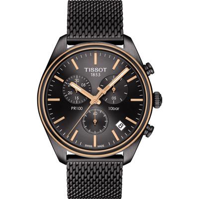 TISSOT 天梭PR100 米蘭時尚三眼計時腕錶-黑/41mm