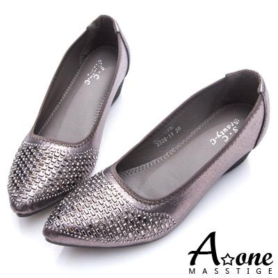 A-one-小尖頭閃亮光澤燙鑽楔型跟鞋-銀灰