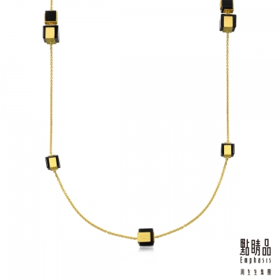 點睛品Emphasis 黃金項鍊- g* collection -方形黑玉髓