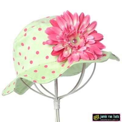 Jamie Rae 綠底糖果粉點點糖果粉雛菊款小女童遮陽帽