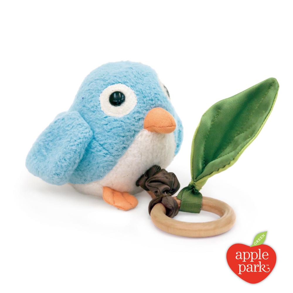 【美國 Apple Park】有機棉拉線震動啃咬玩具 - 青鳥