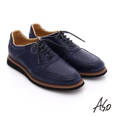 A.S.O 輕量抗震 真皮壓紋簡約活力休閒鞋 藍色