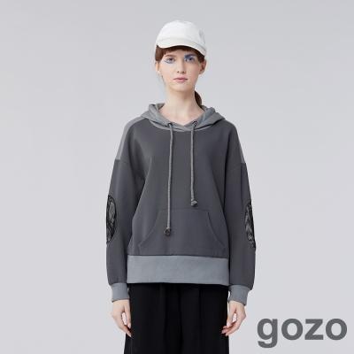 gozo 個性展現口袋抽繩連帽拼色上衣(二色)-動態show