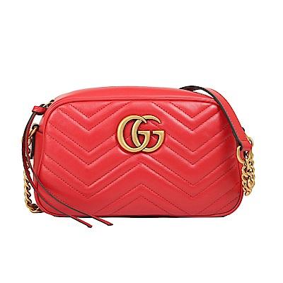 GUCCI GG Marmont 斜紋皮革復古金屬鍊帶斜背包(紅色)