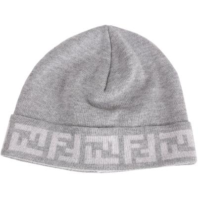 FENDI 雙F織紋滾邊反折針織帽(淺灰色/100%WOOL)