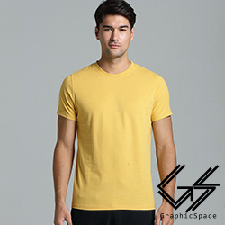 黃色素面磨毛水洗T恤(黃色)-GraphicSpace