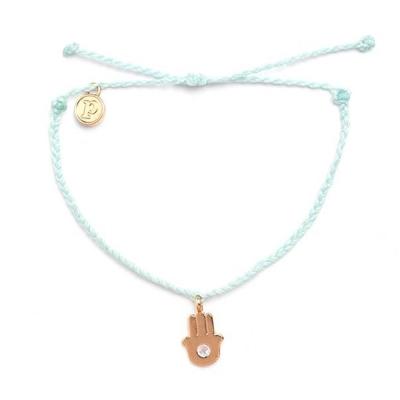 Pura-Vida-GOLD-HAMSA-SEAFOAM-金色小手嫩綠色臘線衝浪手鍊手環