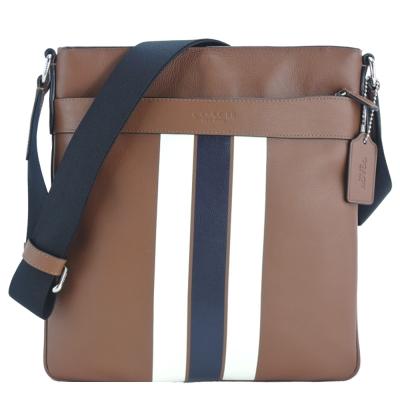 COACH 雙色直紋皮革方形斜背包(淺褐)