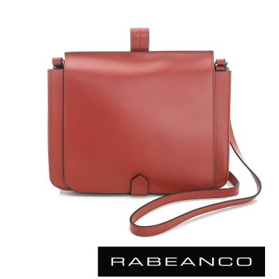 RABEANCO-迷時尚牛皮系列翻蓋方塊斜背包-橘紅