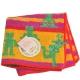 VIVIENNE WESTWOOD 2D卡通人刺繡行星圖騰行星小方巾(黃紫/橘紅邊) product thumbnail 1