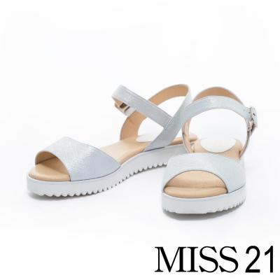 涼鞋 MISS 21 寬版一字弧形造型全真皮輕巧涼鞋-銀