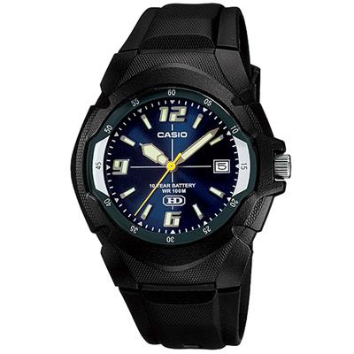 CASIO 新版超時玩家十年電量指針錶(MW-600F-2A)-藍色