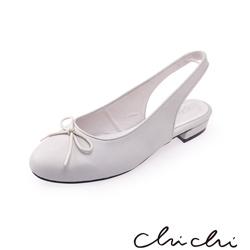 Chichi 圓頭蝴蝶結後縷空平底鞋*灰色