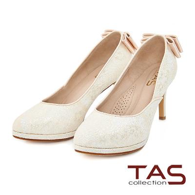 TAS 後跟雙層蝴蝶結蕾絲高跟鞋-優雅米