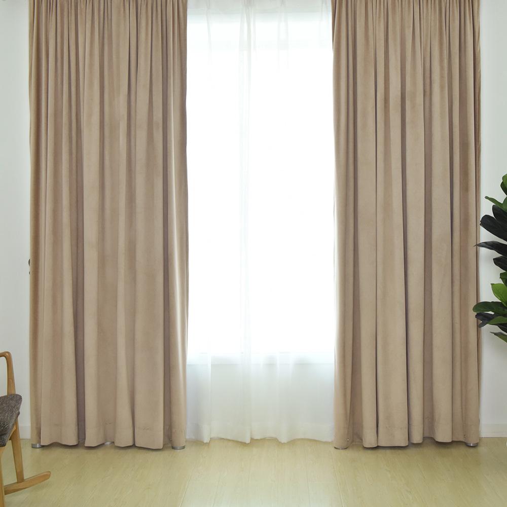 伊美居 - 天鵝絨半遮光半腰窗簾 - 單片130x165cm (共2片)