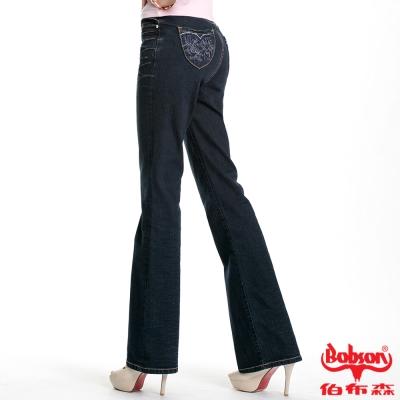 BOBSON 女款蕾絲狀刺繡小喇叭褲(藍52)