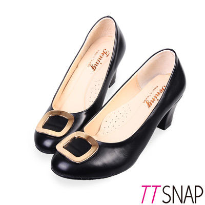 TTSNAP中跟鞋-MIT高雅時尚金屬飾扣真皮軟Q跟鞋 黑