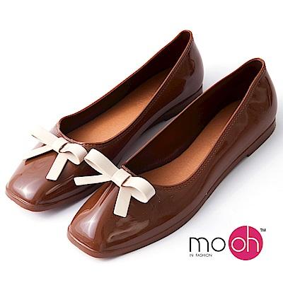 mo.oh-方頭蝴蝶結平底防水果凍娃娃鞋-棕色