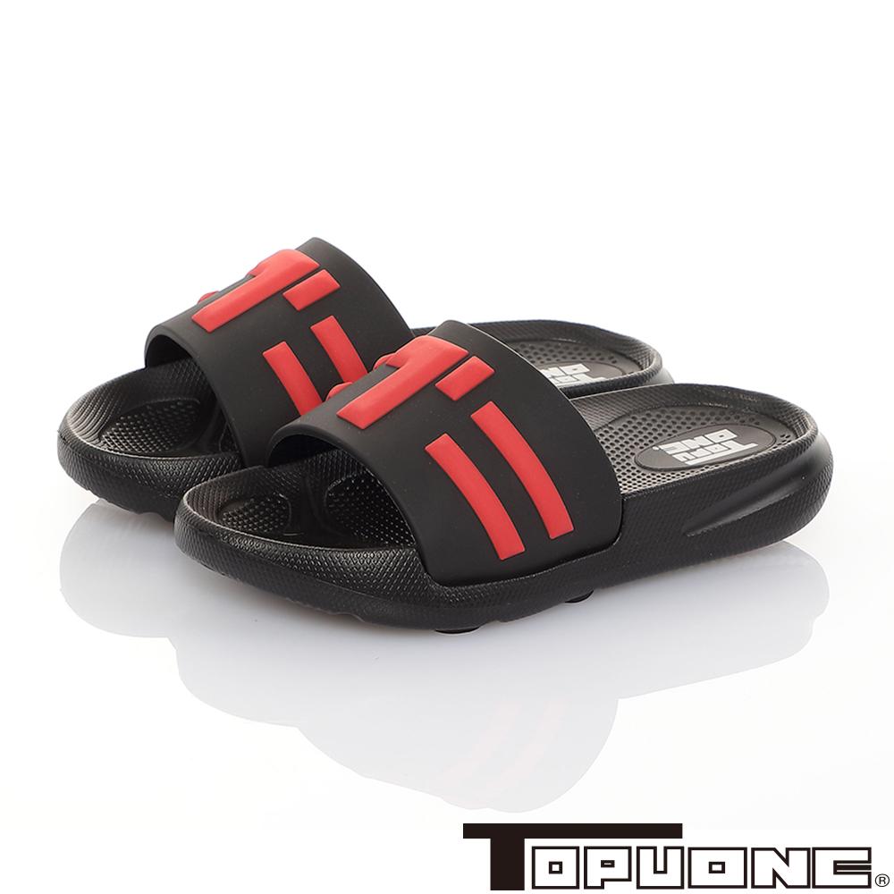 TOPUONE童鞋 極輕量室內外減壓休閒拖鞋-黑