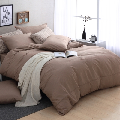 DON極簡生活-沉穩咖 特大四件式200織精梳純棉被套床包組