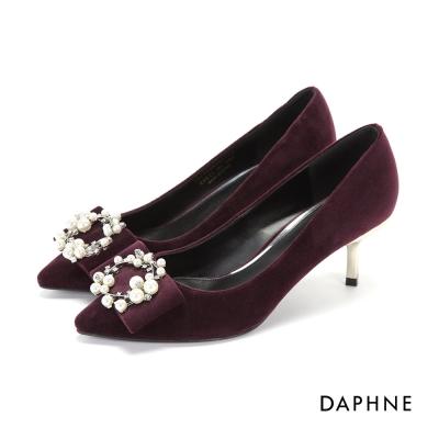 達芙妮DAPHNE 高跟鞋-針珠鑽飾花圈天鵝絨尖頭鞋-紫紅