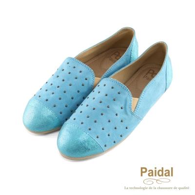 paidal 金屬光珠珠舒適懶人鞋樂福鞋-藍