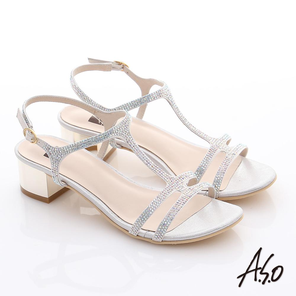 A.S.O 璀燦注目 水鑽緞布T字粗低跟涼鞋 銀色