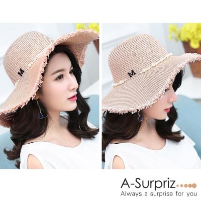 A-Surpriz 珍珠環繞M字鬚邊草帽(粉)