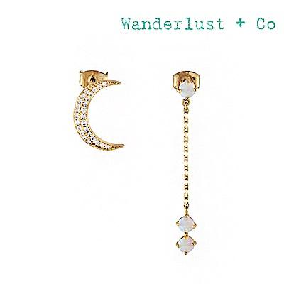 Wanderlust+Co 澳洲時尚品牌 鑲鑽新月 月光石垂墜耳環