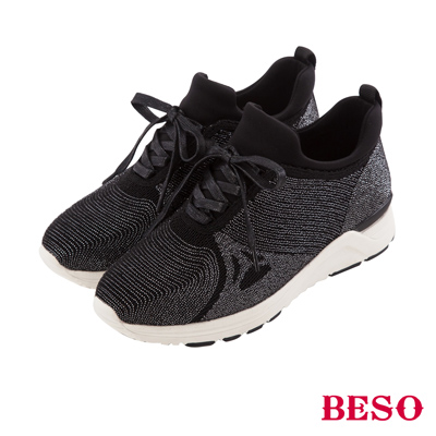 BESO 休閒百搭 運動風銀線輕量飛織鞋~黑
