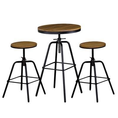 AT HOME-泰勒1.8尺圓形原木升降吧台桌椅組(一桌二椅) 55x55x100cm