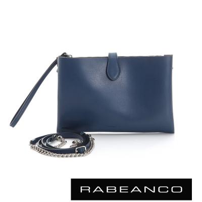 RABEANCO-迷時尚牛皮系列多夾層鏈帶手拎包-深藍