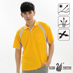 【遊遍天下】MIT台灣製男款吸濕排汗抗UV機能POLO衫S019黃色