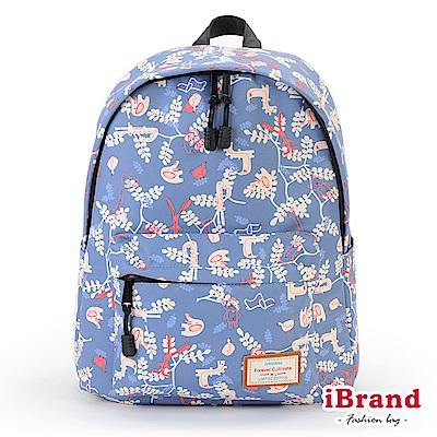 iBrand 學院風印花潮流防潑水口袋後背包-童趣