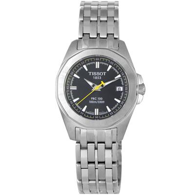 TISSOT PRC100 簡潔大方三針石英腕錶(T22128151)-黑/28mm