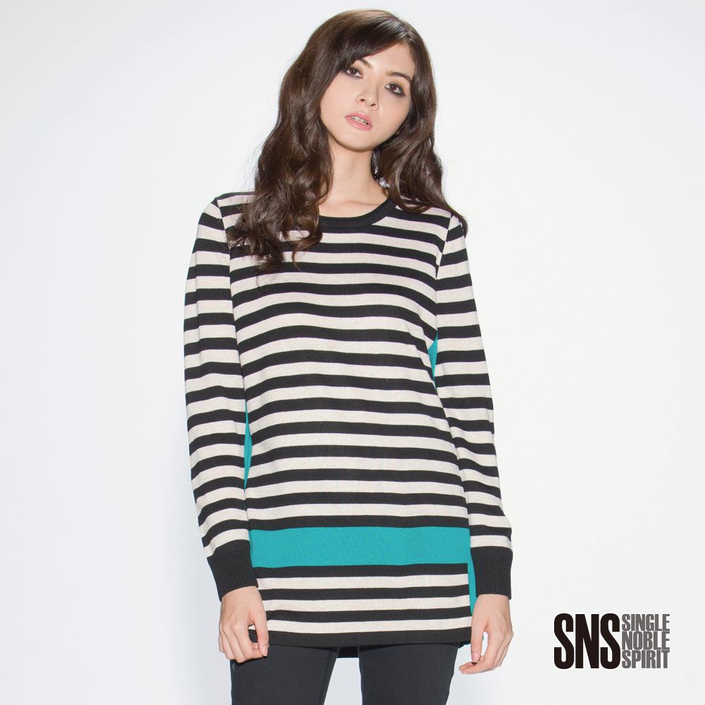 SNS 歐美個性條紋十字架拼色長版針織衫(2色)