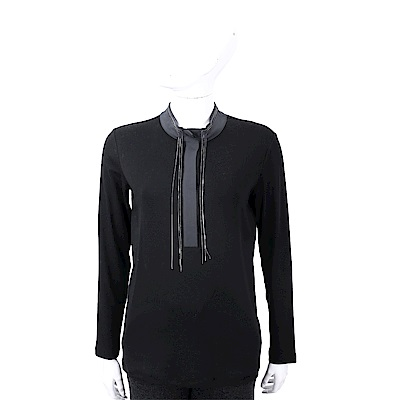 FABIANA FILIPPI 墜鍊撞色細節黑色立領絲質上衣