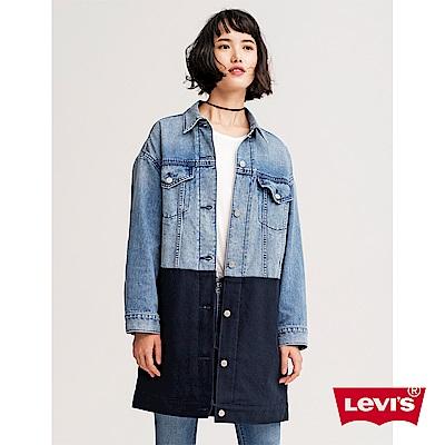 牛仔外套 女裝 長版 異材質拼接 - Levis