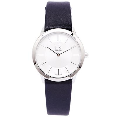 CK 都會雅痞極簡女性手錶(K3M221C6)-銀面X黑色/34mm
